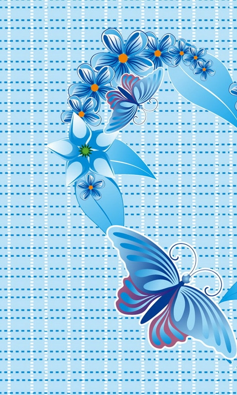 Butterfly and Flowers Windows Phone Wallpaper