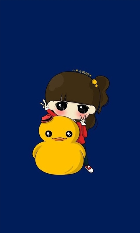 Cute girl with small yellow duck Windows Phone Wallpaper