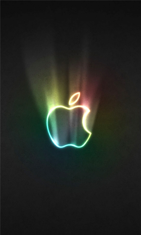 Glowing Rainbow Apple Windows Phone Wallpaper