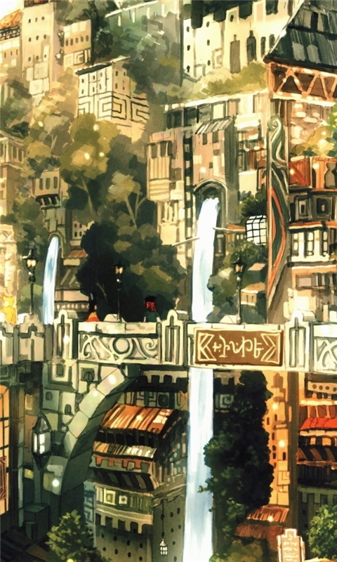 Anime City Painting Windows Phone Wallpaper