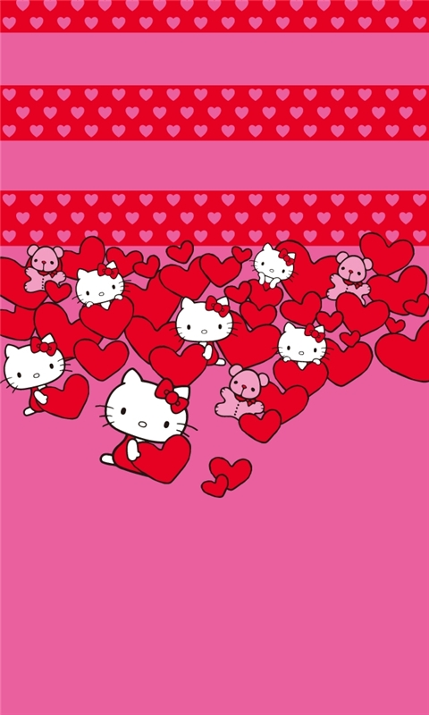 Hello Kitty Hearts Windows Phone Wallpaper