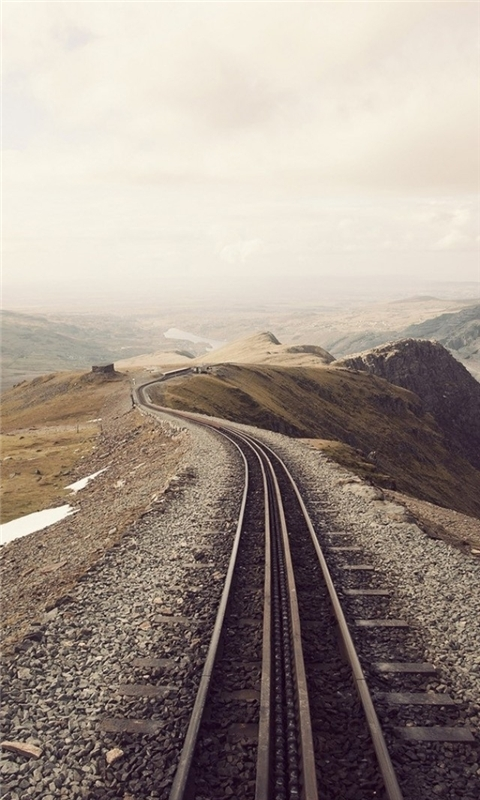Mountains Clouds Landscapes Railroad Tracks Windows Phone Wallpaper