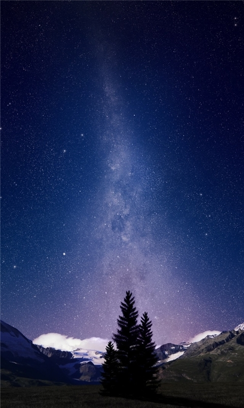 Swiss Alps Night Sky Windows Phone Wallpaper