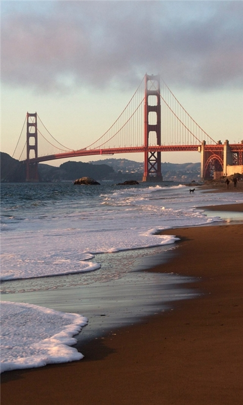 San Francisco Bridge Beach Windows Phone Wallpaper