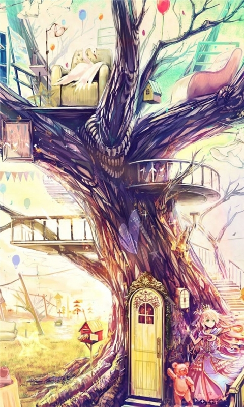 Painting Girl Animal Tree Windows Phone Wallpaper