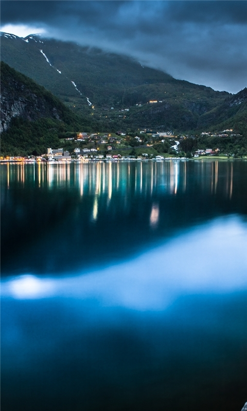 Geiranger At Night Windows Phone Wallpaper
