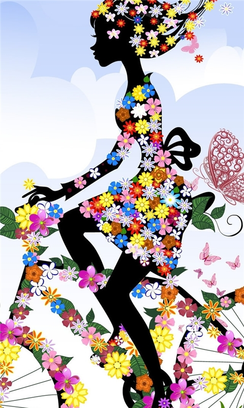 Floral Woman On A Bike Windows Phone Wallpaper