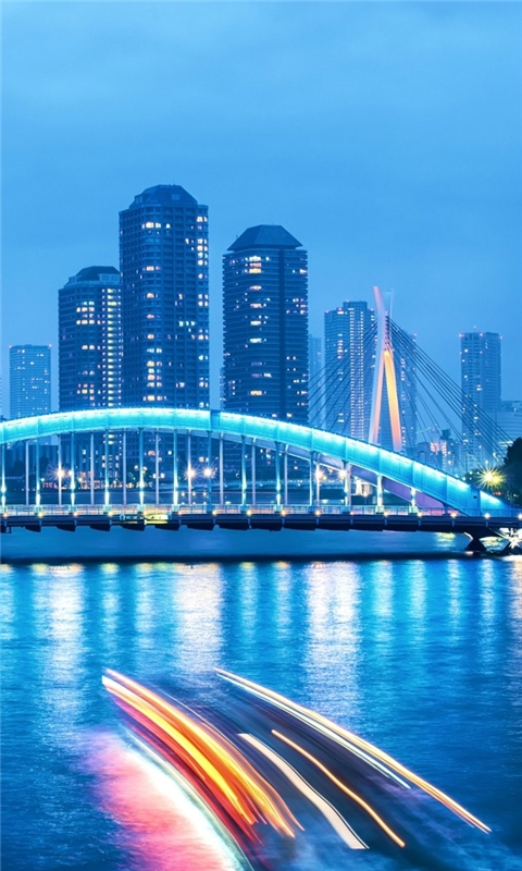 Tokyo Night Bridge Landscape Windows Phone Wallpaper