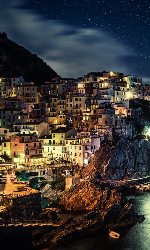 Manarola Night Windows Phone Wallpaper