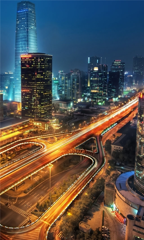 Beijing at night China Windows Phone Wallpaper
