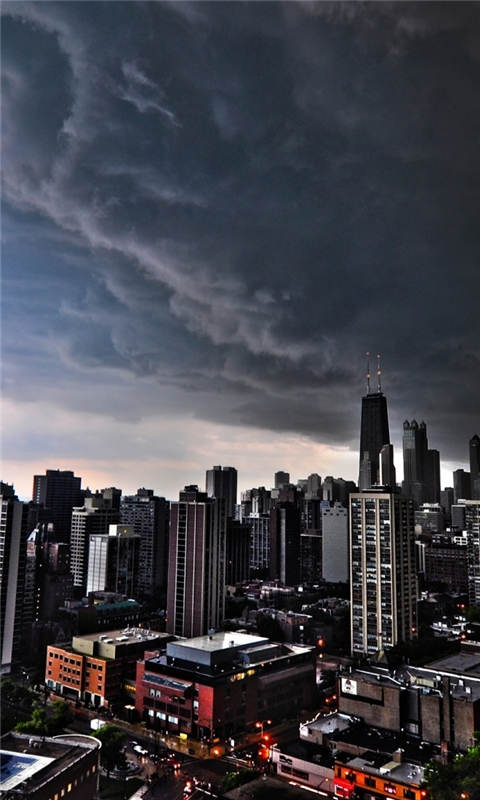 Storm Clouds Over Chicago Windows Phone Wallpaper