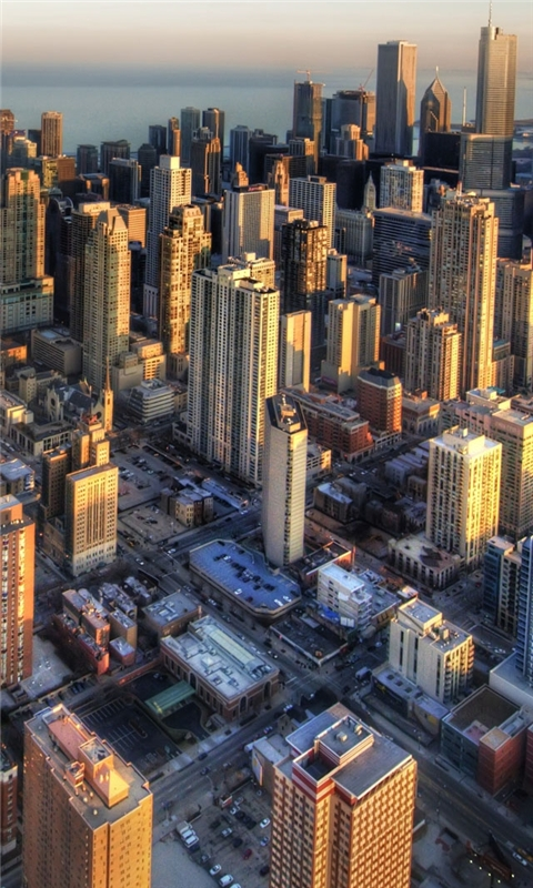 Chicago aerial view Windows Phone Wallpaper