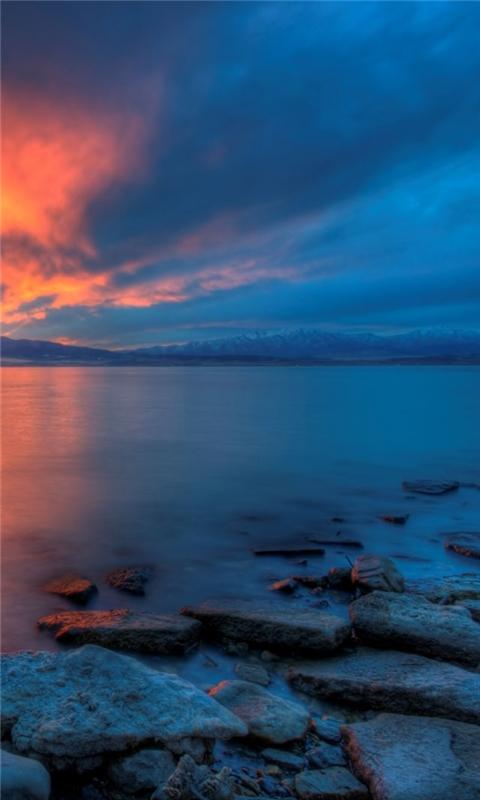 Utah Lake Sunset Windows Phone Wallpaper