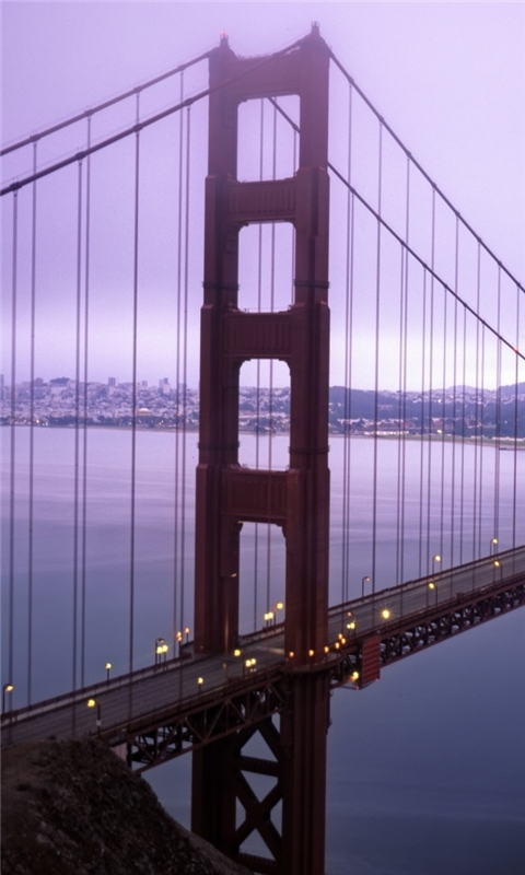 Violet Hour And Fog Surround The Golden Gate Windows Phone Wallpaper
