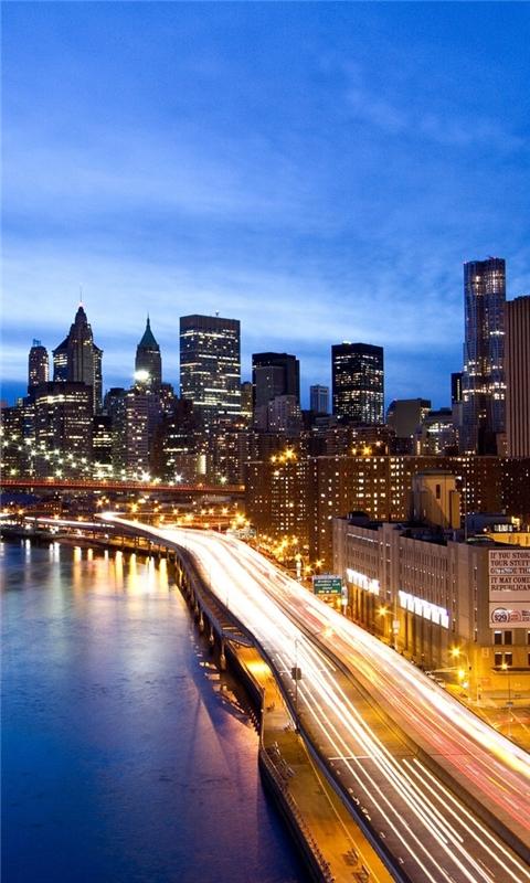 Manhattan by night Windows Phone Wallpaper