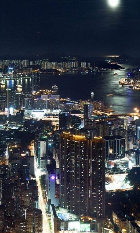 Hong Kong Night panorama Windows Phone Wallpaper