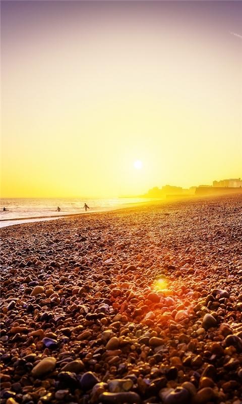 Brighton Beach Sunset Windows Phone Wallpaper