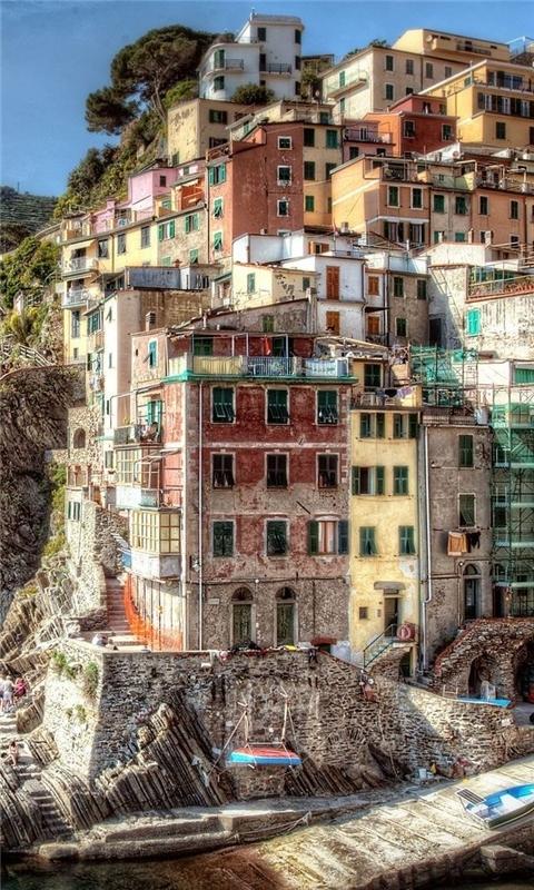 Hdr Riomaggiore Italy Windows Phone Wallpaper