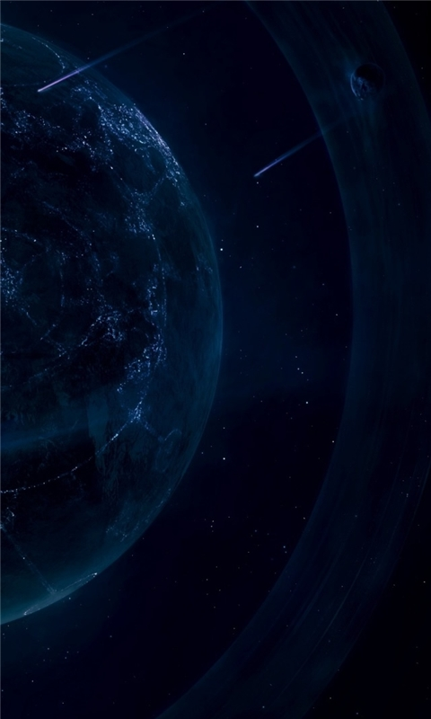 A Planet With Light Gings Windows Phone Wallpaper