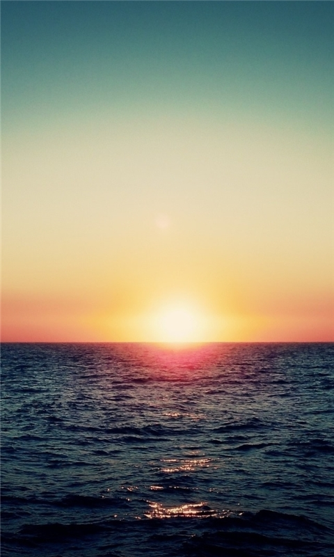 Sea Waves Sunset Windows Phone Wallpaper