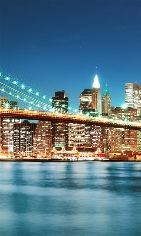 New York city night lights Windows Phone Wallpaper