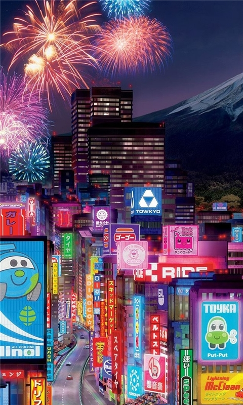 Tokyo City In Cars 2 Windows Phone Wallpaper