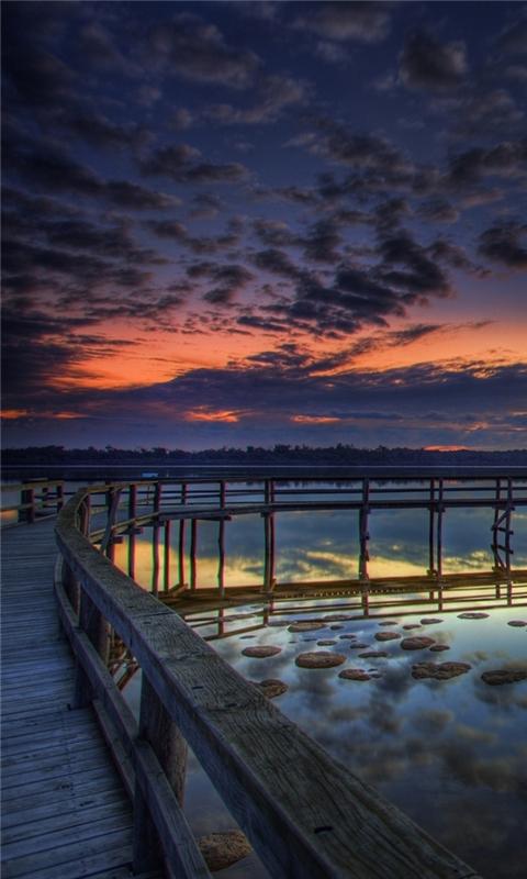 Sunset Sea Promenade Windows Phone Wallpaper