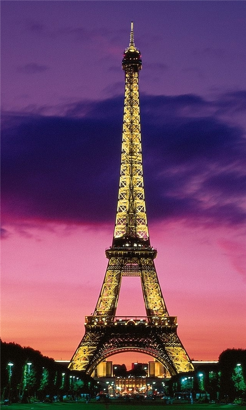 Eiffel Tower At Night Paris France Windows Phone Wallpaper