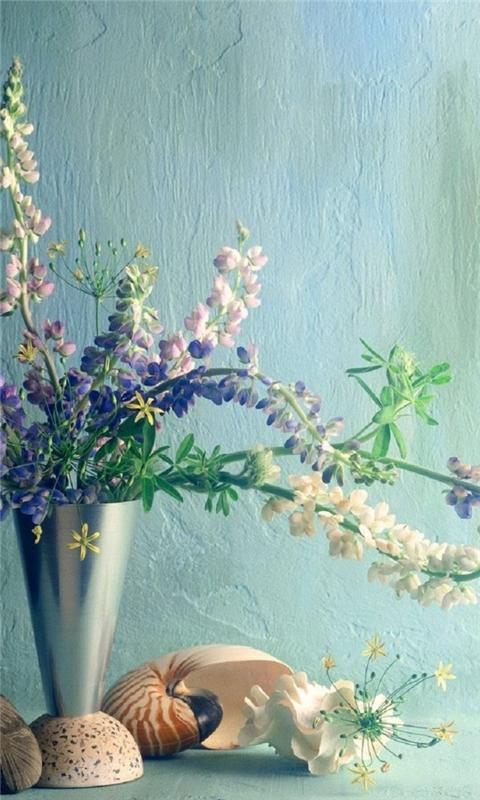 Bouquet Vase Pebbles Windows Phone Wallpaper