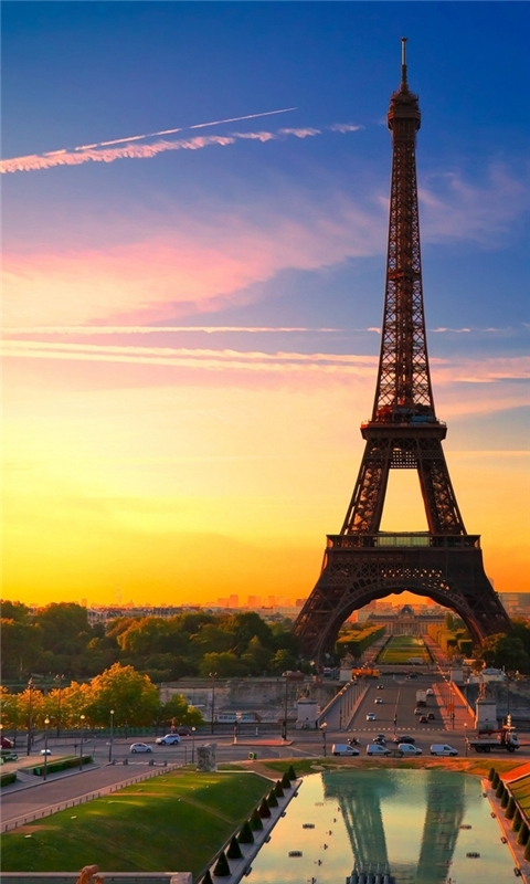 Sunset in Paris Windows Phone Wallpaper