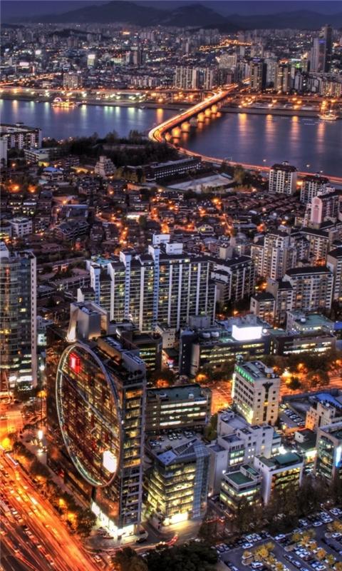 Seoul At Night South Korea Windows Phone Wallpaper