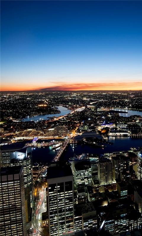 Sydney Night Lights Windows Phone Wallpaper