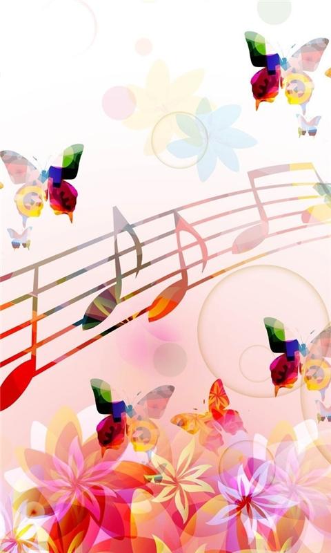 Musical Notes Butterflies Windows Phone Wallpaper