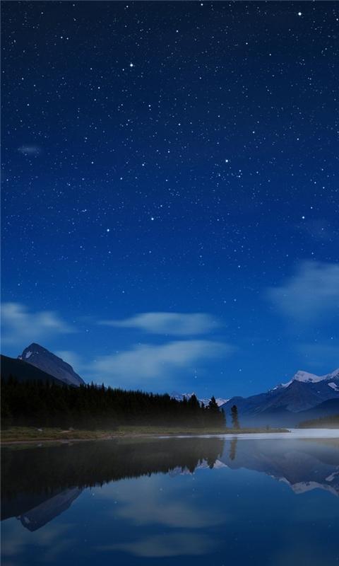 Maligne Starry Sky Windows Phone Wallpaper