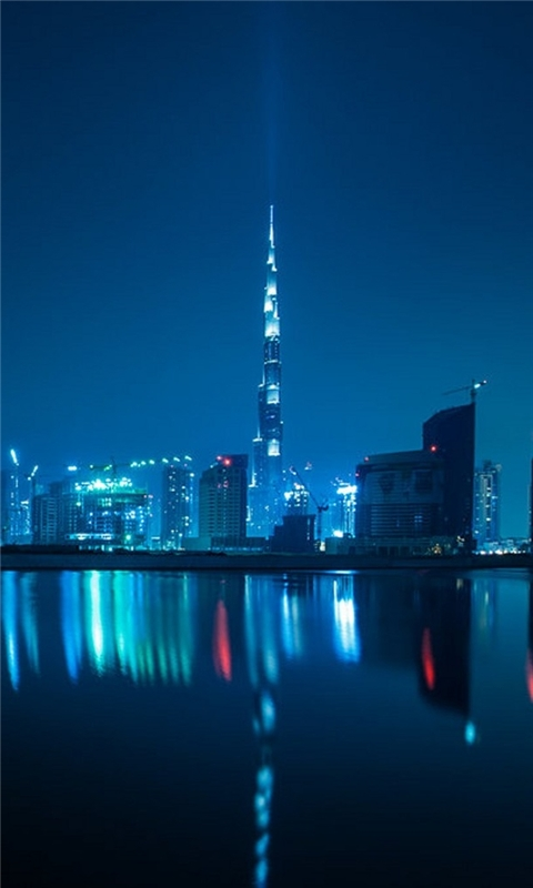 Blue Dubai Night Windows Phone Wallpaper