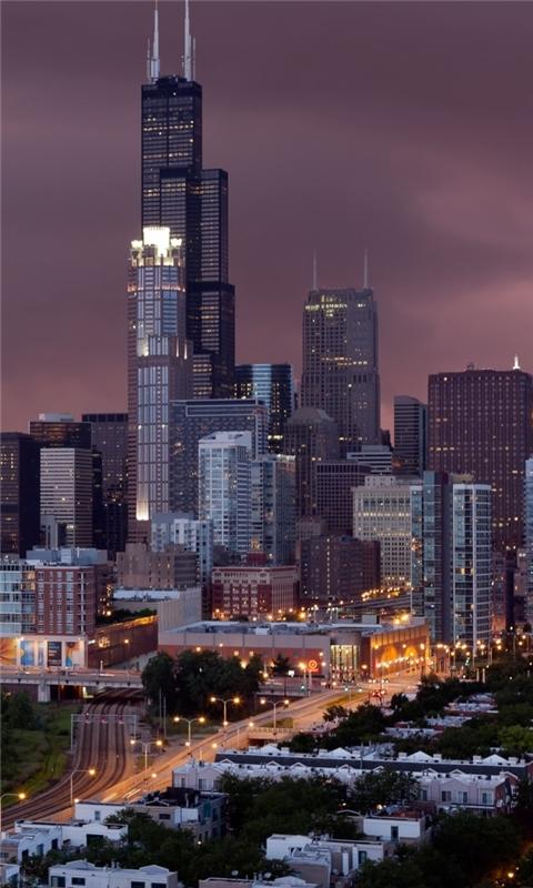 Chicago At Night Windows Phone Wallpaper