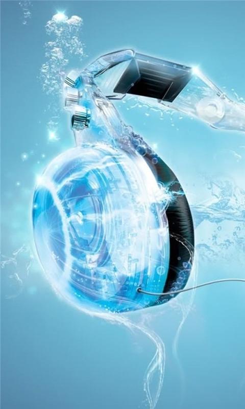 Blue Headphones Windows Phone Wallpaper