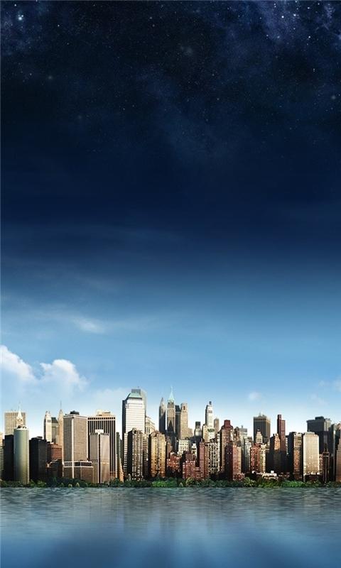 Skyline Island City Windows Phone Wallpaper