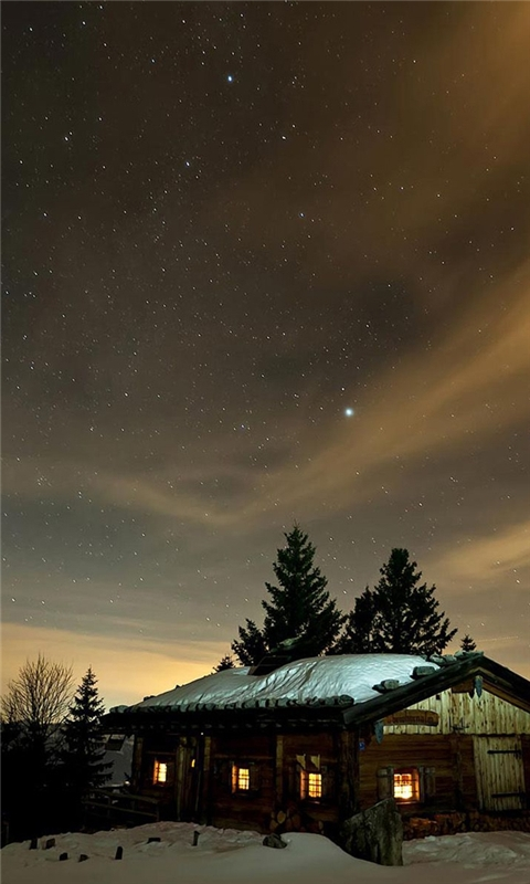 Winter night sky Windows Phone Wallpaper
