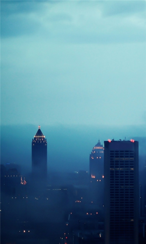 Atlanta in Fog Windows Phone Wallpaper