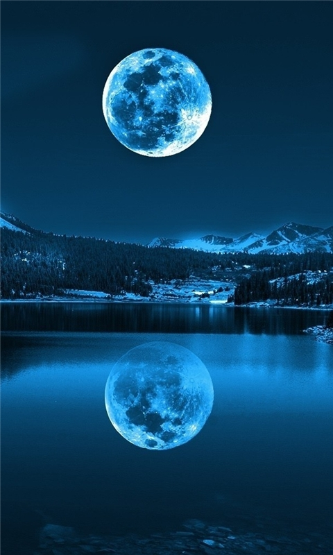 Moon in Cold Lakes Windows Phone Wallpaper