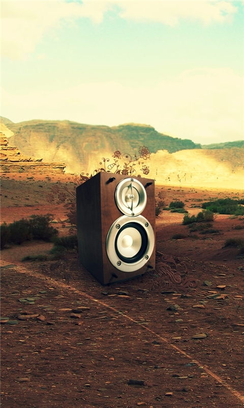Speaker in Desert Windows Phone Wallpaper