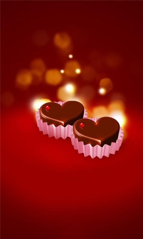 Chocolate Hearts Windows Phone Wallpaper