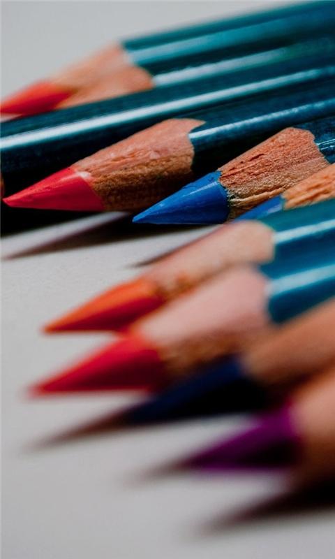 Colored pencils macro Windows Phone Wallpaper