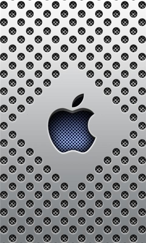 Silver Dots Apple Logo Windows Phone Wallpaper