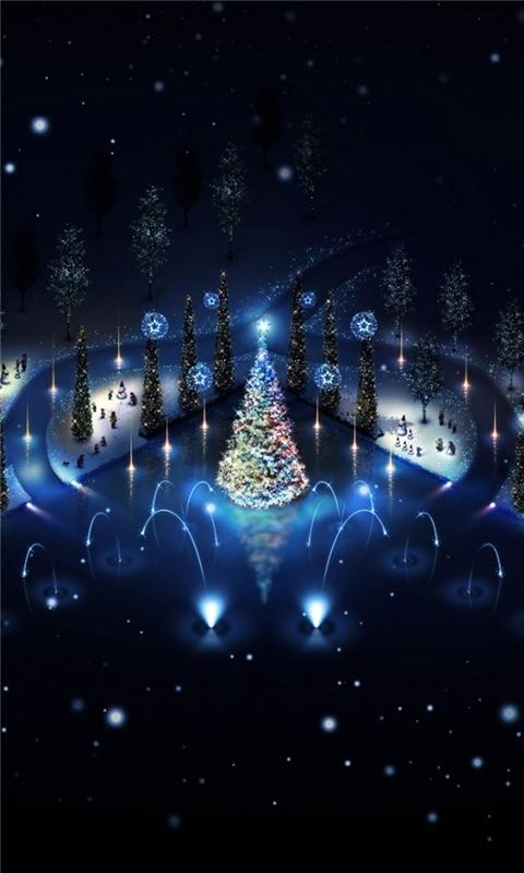Lovely christmas trees lighting Windows Phone Wallpaper