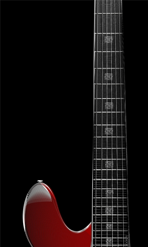 Zoom red guitar Windows Phone Wallpaper