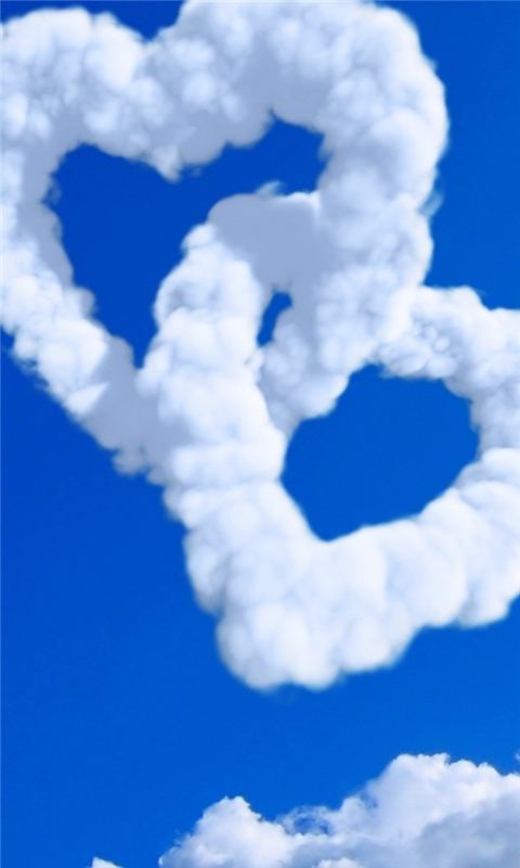 Hearts In Clouds Windows Phone Wallpaper