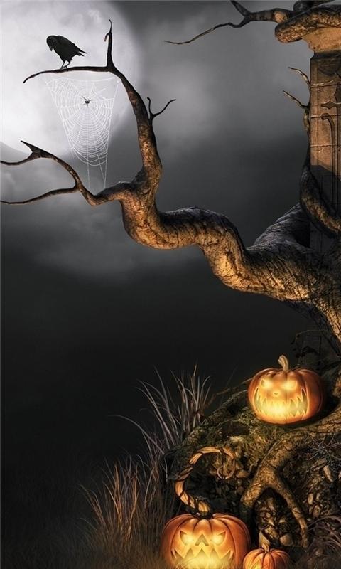 Halloween scene Windows Phone Wallpaper