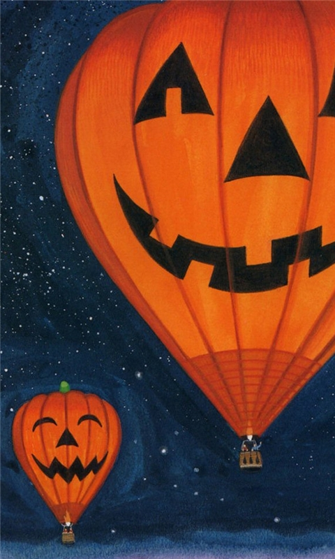 Pumpkin lights Hot air balloon Windows Phone Wallpaper
